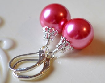 Coral Pink Earrings, Large Glass Pearls, Bright and Colorful, Christmas Balls, Silver Plated Lever Earwires, Fun Holiday Jewelry