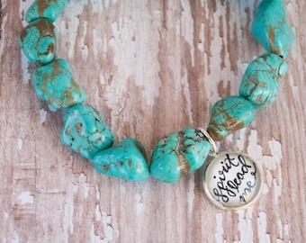 Spirit Lead Me Gift, Turquoise Christian Boho Mantra Bracelet, Cute Teen Girl Gift Ideas, Christian Gifts for Her