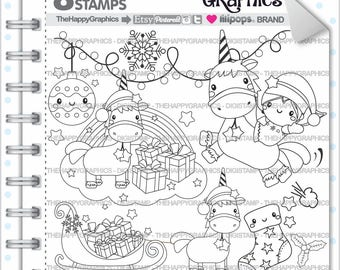 Unicorn Stamp, 80%OFF, Commercial Use, Digi Stamp, Digital Image, Unicorn Digistamp, Unicorn Party, Christmas Stamp, Christmas Clipart