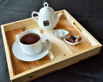 Rectangular tray made from reclaimed wood