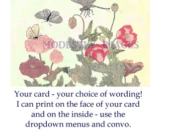 Floral card, hand made floral card,  handmade greetings card, artist card,  keepsake card, floral card, personalised card