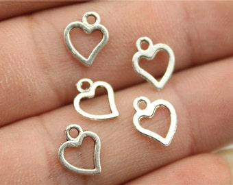 60 Tiny Heart Charms, Antique Silver Tone Charms (1A-133)