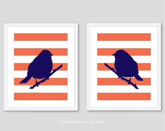 Perched Birds Art Prints - Modern Birds Art - Set of 2 -  Master Bedroom Wall Art - Navy Blue and Coral