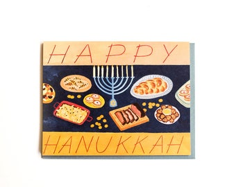 Hanukkah Feast Card / Set of 8