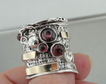 Hadar Jewelry Handcraffted 9K Yellow Gold Silver Garnet Ring size 9 (H g144)