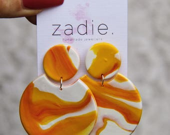 Orange yellow swirl earrings, round drop earrings, dangle earrings, marble earrings, unique earrings, statement earrings, clay earrings