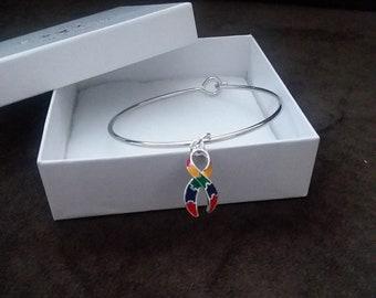 Autism Awareness Ribbon Bangle Bracelet Fashion Jewelry
