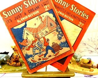 Enid Blyton Sunny Stories Mr Pinkwhistle, two comics 1948, 1950 inc Malory Towers, Five Go off To Camp