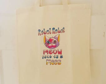 Cool Cat Tote Bags I Bowie Art Custom Illustration Print Tote Shopping Bag