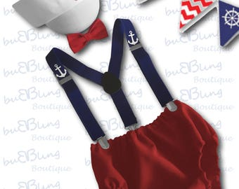 Personalised Sailor 1st Birthday Outfit, Baby Boy First Birthday Outfit, Cake Smash Outfit Boy, Baby Photo Prop, Baby Sailor 1st Birthday