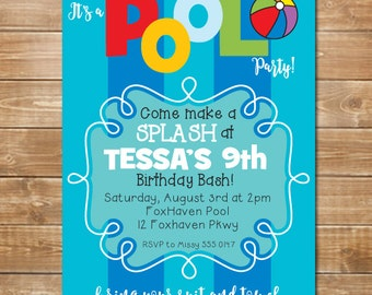 Kids party invite etsy pool party invitation kids pool birthday invite swimming party waterpark party digital stopboris Gallery