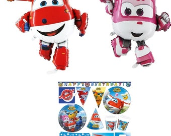 SUPER WINGS Party Supplies Decoration Tableware Cups Napkins Plates Tablecover Hats Flag  Banner Balloons