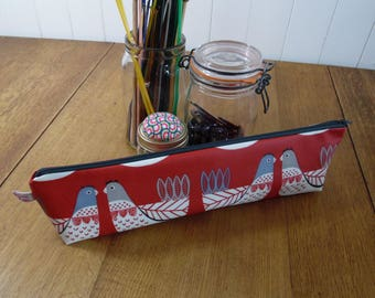 Chicken Print Knitting needle bag zipped pouch in matt finish oilcloth- scandi style grey & black on red background