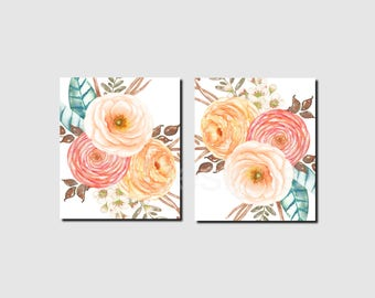 Floral Art Print, Ranunculas, Watercolor Flowers, Bedroom Decor, Bathroom Wall Art, Girl Nursery Decor, Peach, Pink, Printable, Set of 2