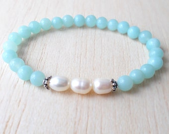 Amazonite Bracelet, Fine Pearl Jewelry, Healing Gemstone Jewelry, Amazonite Jewelry - Bridesmaid Gift