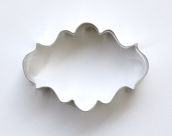 Plaque Cookie Cutter, Oval Plaque Cookie Cutter, Fancy Frame Cookie Cutter