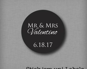 Wedding Stickers, Wedding Favor Labels, Wedding Favor Tags, Custom Favor Stickers, Mr & Mrs Stickers, Personalized Favors, Favor Box Label