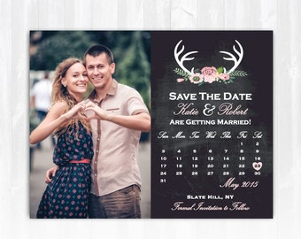 Deer Save The Date Magnet or Card DIY PRINTABLE Digital File or Print (extra) Deer Antler Save The Date Country Save The Date Rustic