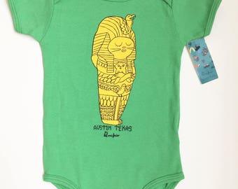 baby onesie  egyptian cat pharaoh green