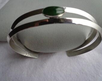 Silver.925 cuff bracelet with jade.