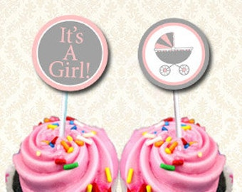 Its A Girl Cupcake Toppers, Baby Carriage Theme, Printable Gift Favor Labels, Pink and Grey Lollipop Tags, Gift Box Labels  2 inch