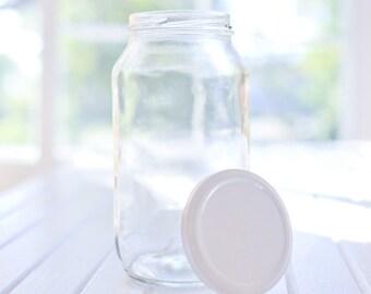 12 x 750ml large round glass jars - White / black / gold / silver metal lids - 16.6cm tall