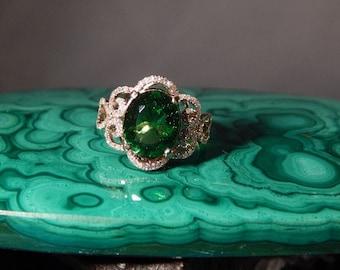 Custom 4.50 Ct. Oval Moldavite and Diamond Ring 14K Rose Gold
