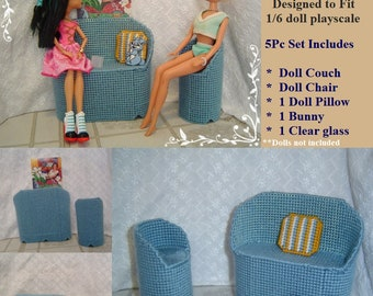 """Blue 1/6 Playscale Doll Set,Plastic Canvas 5PC Set,Original Multi-Sized 1/6"""" Dolls,Monster High,Fashion Doll Furniture by CarussHandmade"""