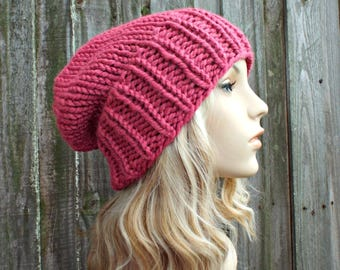 Womens Mens Chunky Knit Hat Fall Fashion Warm Winter Hat Knit Accessories - Adaline Slouchy Beanie - Raspberry Pink Hat - READY TO SHIP