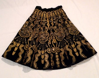 Mexican Skirt Vintage Black Velvet Circle Skirt Vintage Mexico Day of the Dead Aztec Mayan Style Butterfly Snake 50s Folk Art