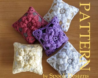 LINEN PINCUSHION - Crochet Motif Pattern