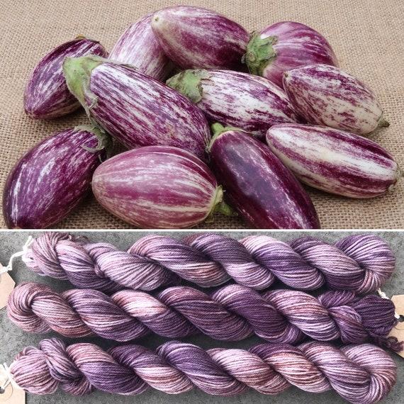 Speckled Aubergine 20g Miniskein, purple speckled merino nylon sock yarn