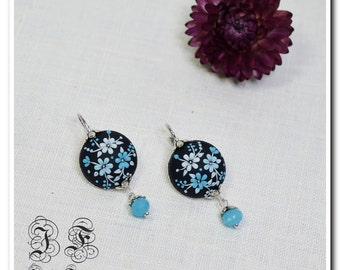 Dark blue Floral Earrings Summer Jewelry Sterling Silver  Earrings Floral Jewelry Polymer Clay Jewelry Applique Floral Embroidery Filigree