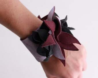 Purple and Black Genuine Leather Flower Cuff bracelet
