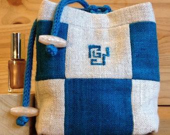 Blue and Ecru silk jewelry bag.