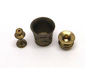 Dollhouse Brass Bucket, Spittoon, Candle Stick , Ice Bucket, Miniature,Mini, Metal, Miniaturist, Hobby, 1:12 Scale
