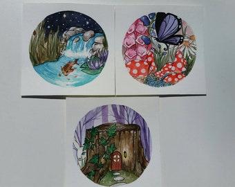 Fairy Worlds, set of three original mini paintings full of whimsy