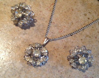 Rhinestone Cluster Necklace and Earrings by Sarah Coventry