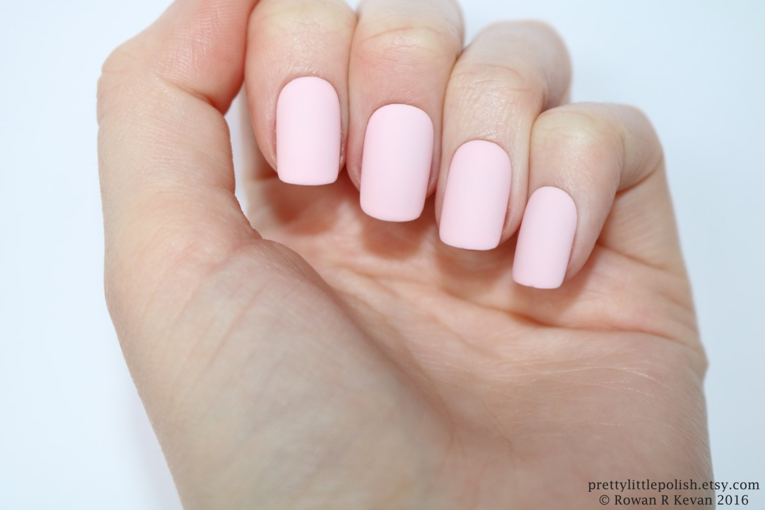 Matte pastel pink short square nails Nail designs Nail art