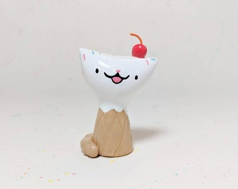Waffle Cone Ice Cream Kitty Figurine - Miniature Clay Cat Collectible