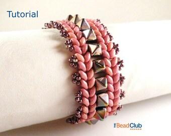 Superduo Bead Patterns - Beaded Bracelet Patterns - Beading Tutorials and Patterns - Beadweaving Tutorial - PDF - Pyramid Row Bracelet