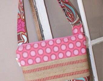 Custom Order -You Choose Fabric - Jute Hipster Bag