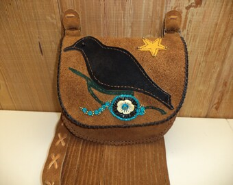 30% Off Folk Art, Crow, Fringed Shoulder Bag in Brown Suede  - FREE DOMESTIC SHIPPING