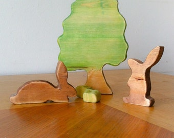 Easter Rabbits. Wooden toy
