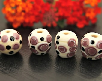 Set of Four Handmade Artisan Lampwork Glass Beads Barrel Shapes in Ivory and Lavender with Black