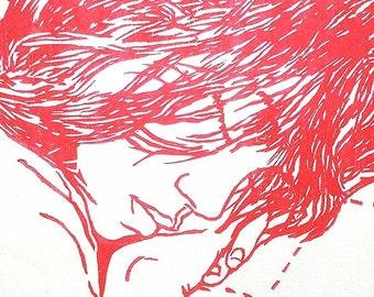 handmade woodblock print, Elinor in Red