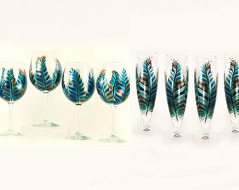 8 Mix and Match Stemware Glasses - Southwest Feathers Turquoise Copper Silver - Choice of Glassware, Personalized Wedding Host Gift Ideas