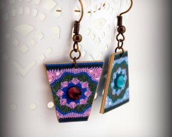 Crochet earrings - Crochet Jewelry - Granny Square - Crocheted earrings - Granny Square Earrings - Shrink Plastic Jewelry - Purple - Teal