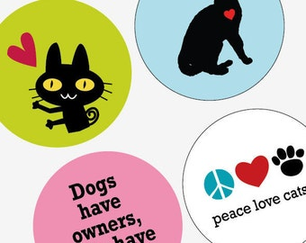 Cat Love  - Large Round Images - 2.25 Inch (57mm) - Great for Pocket Mirrors,Coasters,Buttons,Magnets - Digital Sheet - Instant Download