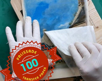 100 Sheets of Image transfer paper for using on wood, canvas and lots more - transfer is made by acrylic Gel Medium -